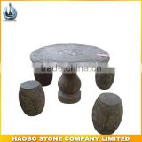 Haobo Cheapest Granite Garden Stone Round Table Top with chair with carved