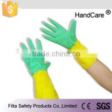 Yellow and blue rubber latex household cleaning gloves FHG009