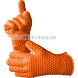 Non-Slip Food Grade Oven Mitts, Pot Holder for Cooking, Baking, Barbeque (BBQ), Cooking 5-Finger Protective Kitchen Gloves