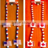 Custom flag printed independence day party supplies plastic beads led light up necklace July 4th
