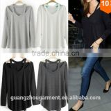 Women Cotton Soft Long Sleeve V Neck Loose Solid Casual T-Shirt Tee Tops Blouse Plus size A line t shirt collar loose t shirt