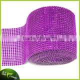 Hot sell! Rhinestone ribbon 24 rows plastic & metal crystal rhinestone trim mesh roll