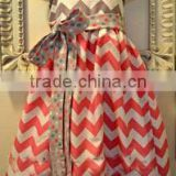 Boutique Baby Clothing Summer Chevron Dress Custom Girl Halter Dress Vintage Stitches Dress