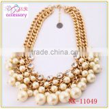 Multi-layer luxury pearl necklace with rhinestone,double layers gold link chain necklace for women