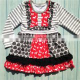 Modern style OEM quality cotton red and black long sleeve girls dresses