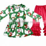 Fall Winter Snow Man Children's Long Sleeve Boutique Girl Clothing Set Baby Romper Outfits With Ruffle Pants Fast Delivery