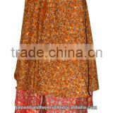 Indian Two Layer Beach Sarong Wraparound Sari Wrap Skirt
