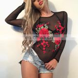 Mika72186 2017 Sexy Bodysuit Women Black Mesh round Neck Jumpsuits Romper Shorts Playsuits Sexy Embroidery Romper