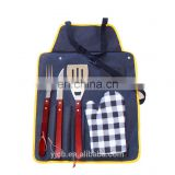 2017 customized logo Foldable bag BBQ grill tool set with cotton glove mitt