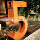 Laser cut outdoor large sculptural metal corten lettering for signs
