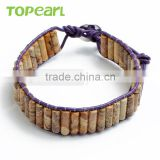Topearl Jewelry Picture Jasper Fashion Bracelet Woven Leather Wrap Bangle 7.5 Inches CLL124