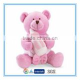 Custom plush teddy bear baby toy with baby feeding bottle
