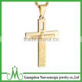 New Arrival Gold Women's Men's Stainless Steel Cross Pendant Necklace Charm Golden Chain