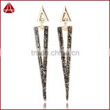 Newest Designer fashion triangle Charm diamond pave long earrings, Gorgeous chic diamond pave dangle earrings