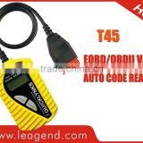 Hot-sale ! OBD2 Diagnostic code reader T45 for VW &Audi (Engine/ABS/AT/Airbag) in yellow /with 16pin cable ,with best price