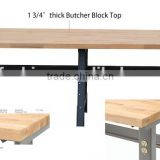Workbench, butcher solid wood top, 96inch, Adjustable Height