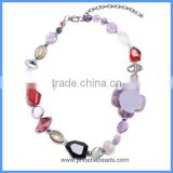 Wholesale Multi-color Glass Acrylic And Agate Cross Beads Gemstone Jewelry Fancy Necklace For Women GN-M001