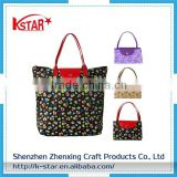 Beautiful Pattern Polyester bulk reusable foldable shopping bag