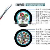 Outdoor Phosphating steel wire strength member +plastic coated steel tape fiber optical cable