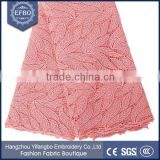 2016 peach leaves lace dresses fabric wholesale cheap price multi color 100 polyester fabric bridal african guipure lace
