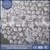 Garment women cloths cotton indian lace embroidery fabric/Water soluble chemical lace fabric for dress