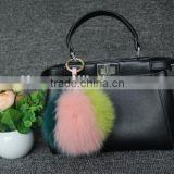 Lovely colourful Fox Fur Pompom Ball with Keyring for Bag/Accessories/Christmas Decoration