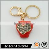 High quality souvenir crystal customized apple shape keychain