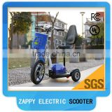 3 wheels powered three wheel electric scooter with seat with front suspension for adult