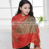 In stock!Factory price tassel scarf shawl cotton cape peacock design scarves