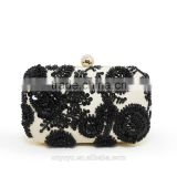 Women handmade embroidery bag black flower beaded clutch case