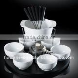 14pcs porcelain cheese fondue set