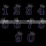 Birthday number crown hotfix rhinestone transfer motif