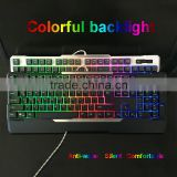 Colorful LED Backlit Game USB Wired PC Laptop waterproof Keyboard