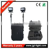 Multifunctional commercial remote lighting rechargeabl portable railway spotlight with black case