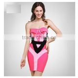 2015 New Fashion Pink And Black Tribal Geometric Embellished Strapless Sexy Women HL Bandage Cocktail Party Dress