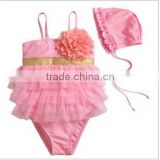 Fashion baby girls comfortable one piece swearsuits children kids pink swimwear kids bikini