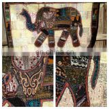 Patchwork Elephant Tapestry Vintage Patchwork Elephant Wall Hanging