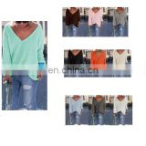 Womens Sexy V-collar Casual Long Sleeve Knitted Pullover Loose Sweater Jumper Tops Knitwear