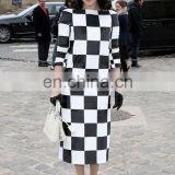 2015 Black and white checkerboard long-sleeved dress free prom dress fashion dress girls' dress