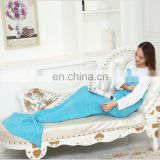 100% acrylic fibers cheap mermaid chunky knit korean blanket