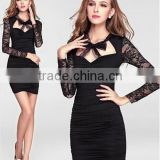 Classic Black Sexy Lace sleeve Dress fashion perspective bandage dress sexy free prom dress