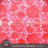 Factory direct supply hot selling red flower lace embroidered 3d mesh fabric for fashionable woman