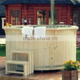 Wooden outdoor hot tub