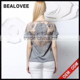 2015 fashion sexy embroidery hollow out solid summer backless clothes women clothing wear t-shirt