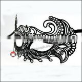 Venetian Halloween Laser Cut Metal Pretty Masquerade Mask with Crystals BLACK