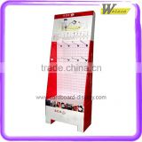 floor standing with metal hook cardboard display stand for accessories