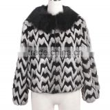 QD27587-1 Women Winter Pelt Zigzag Rabbit Fur Jacket with Round Fox Fur Collar & Sheep Skin Elastic Cuffs