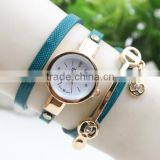 Vintage Lady Crystal Genuine Leather Strap Quartz Women Bracelet Wrist watches Rhinestone Cheap Watch