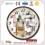 London ancient architectural design butterflies and huge bell decorative wall clock for living room