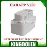 2015 new Arrival Mini Smart Car Trip Computer CARAPP V200 DIY OBD2 Scanner Work With iOS/Android Dual System